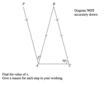 Angles exam question example